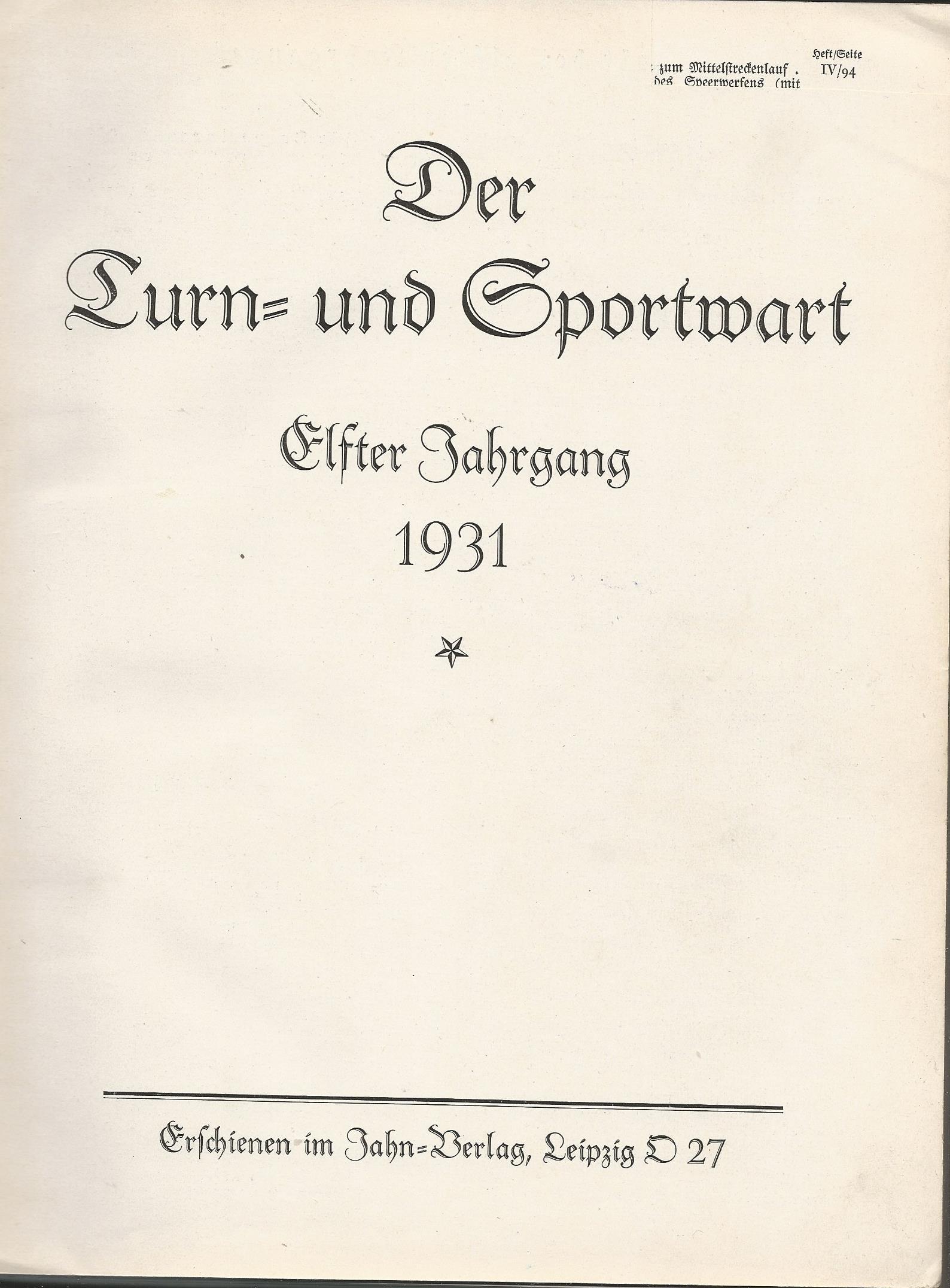 - Der Turn- und Sportwart 11e Jahrgang 1931
